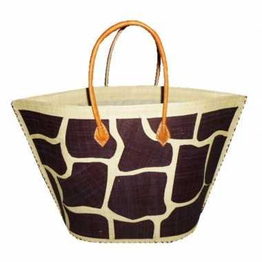 Strandtassen bruin/naturel dierenprint giraf 51 cm prijs