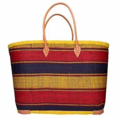 Strandtassen geel/zwart/rood streep print stro/riet 52 cm prijs