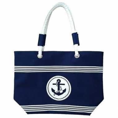 Strandtassen maritiem blauw/wit calais 58 cm prijs
