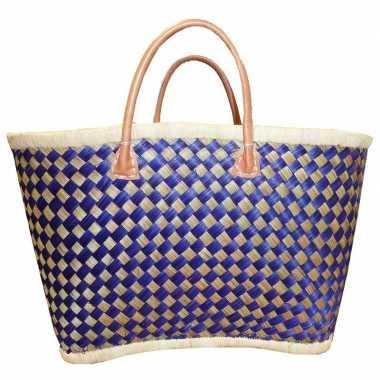 Strandtassen riet blauw/naturel 56 cm prijs