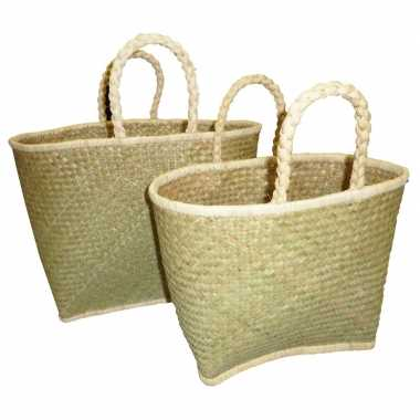 Strandtassen riet naturel 35 cm prijs