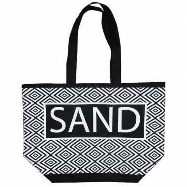 Strandtassen zigzag zwart/wit sand 58 cm prijs