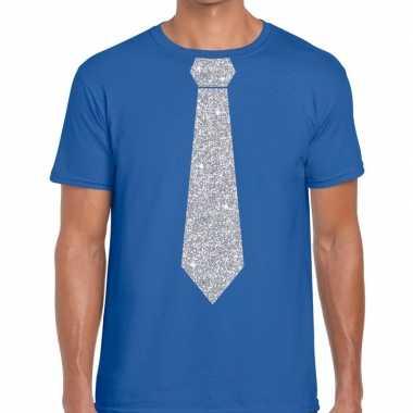 Stropdas t-shirt blauw met zilveren glitter das heren prijs