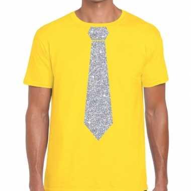 Stropdas t-shirt geel met zilveren glitter das heren prijs