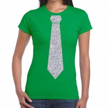 Stropdas t-shirt groen met zilveren glitter das dames prijs