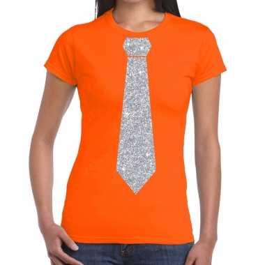 Stropdas t-shirt oranje met zilveren glitter das dames prijs