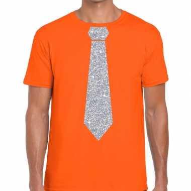 Stropdas t-shirt oranje met zilveren glitter das heren prijs