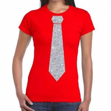 Stropdas t-shirt rood met zilveren glitter das dames prijs