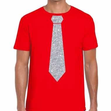Stropdas t-shirt rood met zilveren glitter das heren prijs