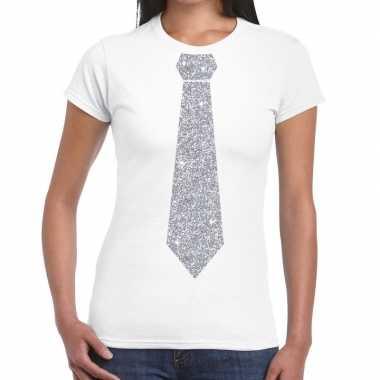 Stropdas t-shirt wit met zilveren glitter das dames prijs
