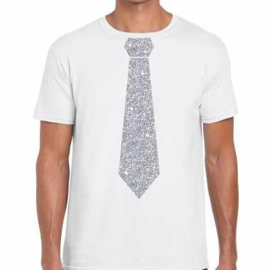 Stropdas t-shirt wit met zilveren glitter das heren prijs
