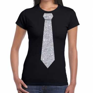 Stropdas t-shirt zwart met zilveren glitter das dames prijs