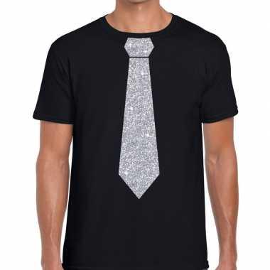 Stropdas t-shirt zwart met zilveren glitter das heren prijs