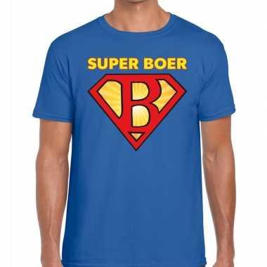 Super boer zwarte cross t-shirt blauw voor heren prijs