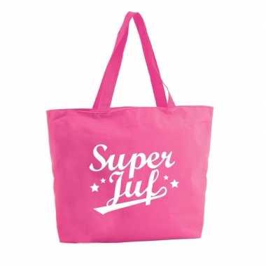 Super juf boodschappentas / strandtas fuchsia roze 47 cm prijs