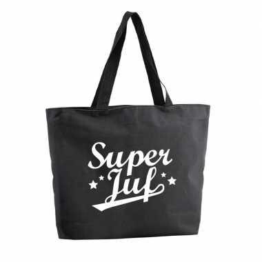 Super juf boodschappentas / strandtas zwart 47 cm prijs