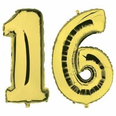 Sweet 16 leeftijd helium/folie ballonnen goud feestversiering prijs