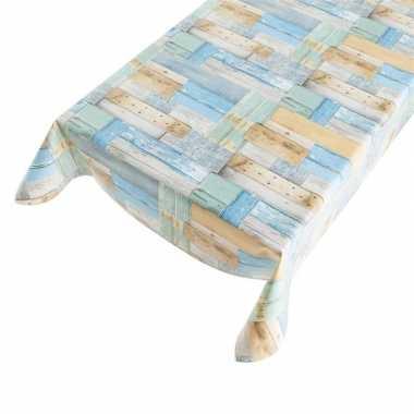 Tafelkleden/tafelzeilen blauwe houten planken 140 x 245 cm rechthoeki