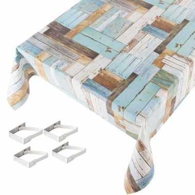 Tafelkleden/tafelzeilen hout print blauw 140 x 245 cm rechthoekig met