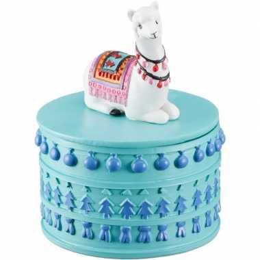 Tanden/eerste haarlok bewaren doosje witte lamas/alpacas dieren 10 x