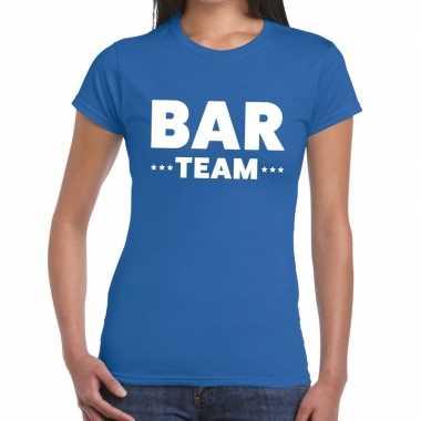 Team t-shirt blauw met bar team bedrukking voor dames prijs