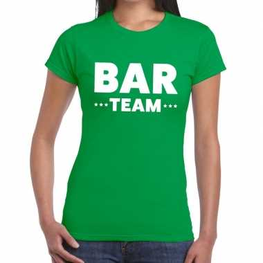 Team t-shirt groen met bar team bedrukking voor dames prijs
