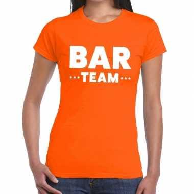 Team t-shirt oranje met bar team bedrukking voor dames prijs