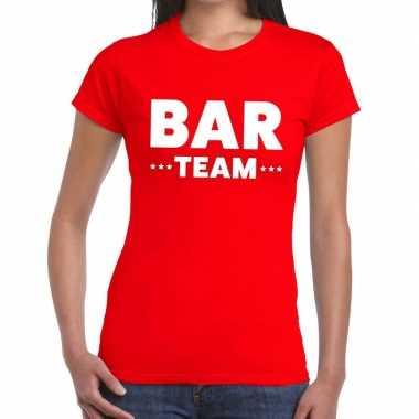 Team t-shirt rood met bar team bedrukking voor dames prijs
