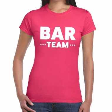Team t-shirt roze met bar team bedrukking voor dames prijs