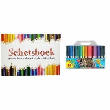 Tekeningenboek met viltstiften a4 papier prijs