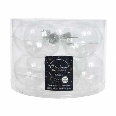 Transparante kerstballenset glas 10 stuks prijs