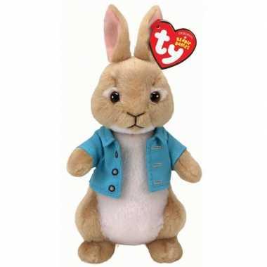 Ty beanie pieter konijn wipstaart knuffel konijn/haas 15 cm prijs