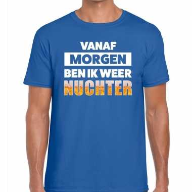 Vanaf morgen ben ik weer nuchter fun t-shirt blauw voor heren prijs