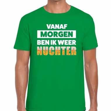 Vanaf morgen ben ik weer nuchter fun t-shirt groen voor heren prijs
