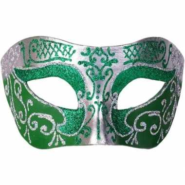 Venetiaans masker glitter groen/zilver prijs