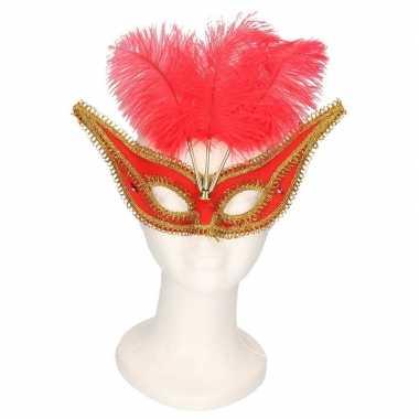 Venetiaanse oogmaskers rood/goud voor volwassenen prijs