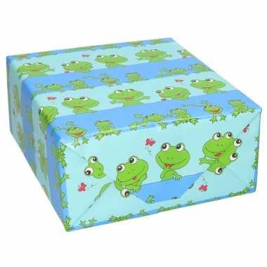 Verjaardag kadopapier blauw met groene kikkertjes dieren print 200 x