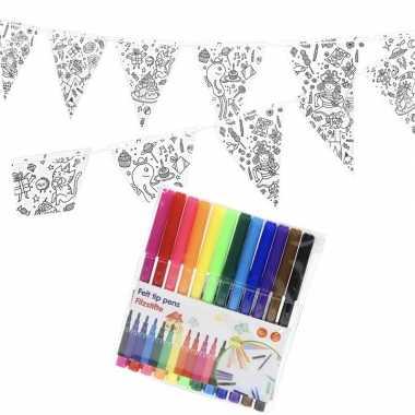 Verjaardag slinger/vlaggenlijn om in te kleuren met stiften voor kind