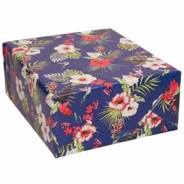 Verjaardagscadeau inpakpapier blauw met hibiscussen 70 x 200 cm prijs