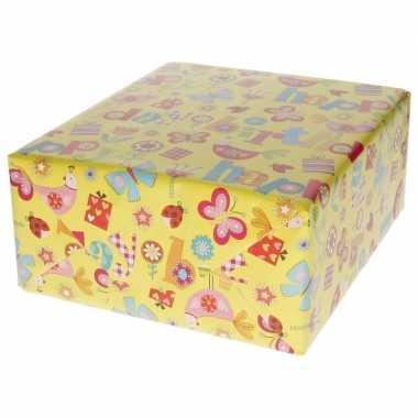 Verjaardagscadeau inpakpapier vlinder/bloem 70 x 200 cm prijs