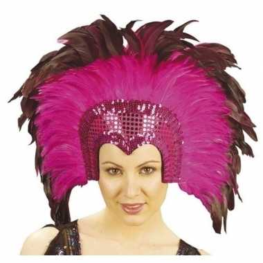 Verkleed luxe fuchsia roze hoofdtooi met veren voor volwassenen prijs