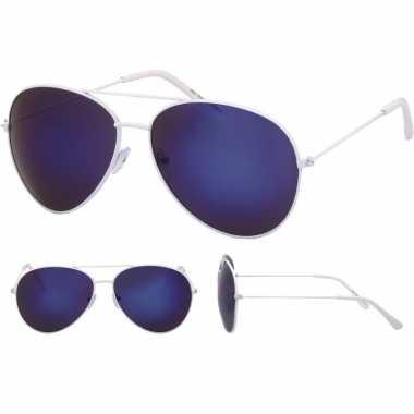 Verkleed politie/agent zonnebril wit voor volwassenen prijs