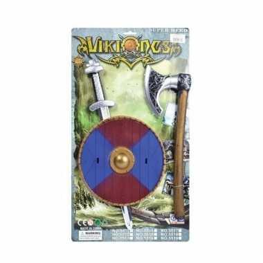 Verkleed viking set zwaard blauw/rood schild en bijl prijs
