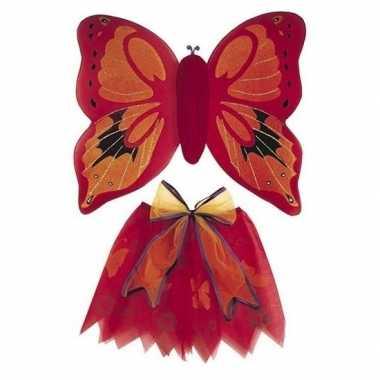 Verkleedkleding rode vlinder vleugels voor meisjes prijs