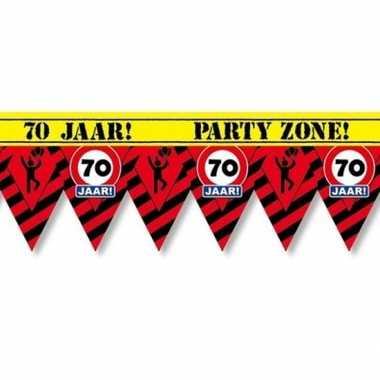 Versiering/decoratie 70 jaar afzetlint vlaggetjes 12 meter prijs