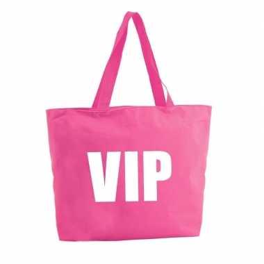Vip boodschappentas / strandtas fuchsia roze 47 cm prijs