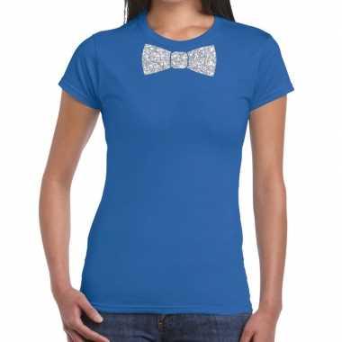Vlinderdas t-shirt blauw met zilveren glitter strikje dames prijs