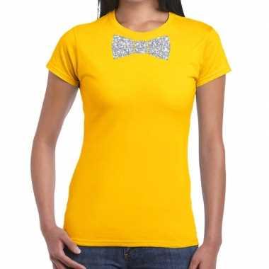 Vlinderdas t-shirt geel met zilveren glitter strikje dames prijs