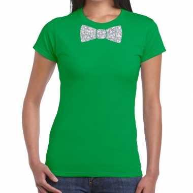 Vlinderdas t-shirt groen met zilveren glitter strikje dames prijs