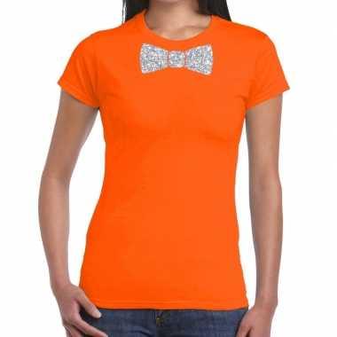 Vlinderdas t-shirt oranje met zilveren glitter strikje dames prijs